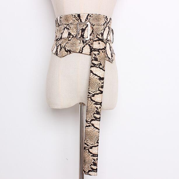 Women's Runway Fashion Leopard Print Satin Cummerbunds Female Dress Corsets Waistband Belts Decoration Wide Belt R717