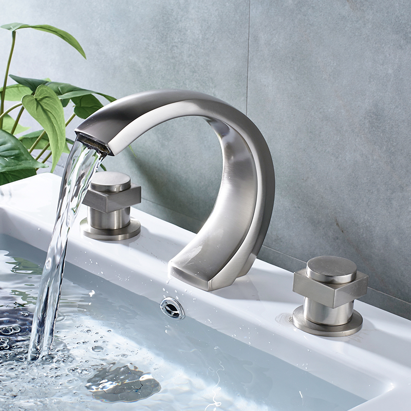 Brushed Nickel Deck Mounted Moon Type Basin Faucet Widespread Dual ...
