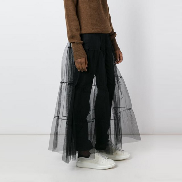 0b5b206694 Transparent Sheer Tulle Skirt A Line Floor Length Long Maxi Skirt Custom  Made Pleated Black Tutu Skirts Women Casual Style