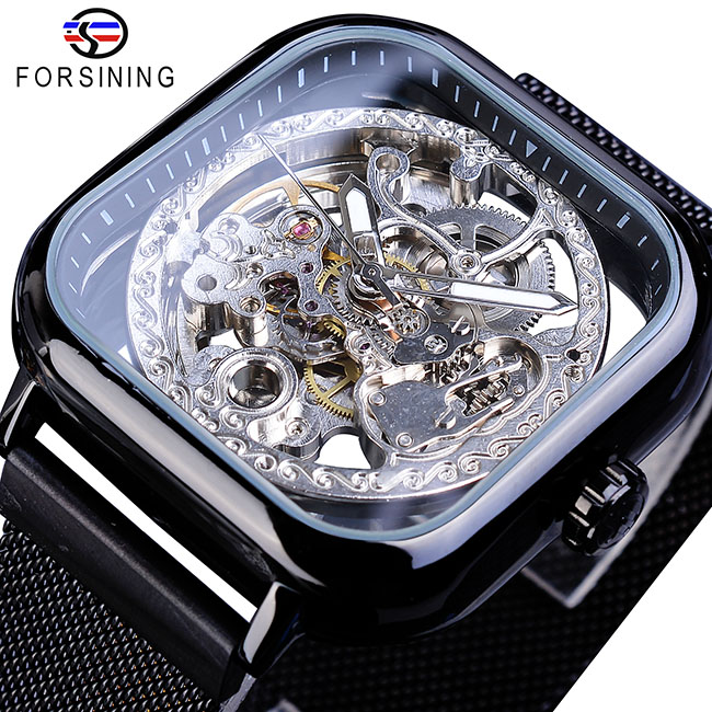 Forsining Men Mechanical Watches Automatic Self-Wind Golden Transparent Fashion Mesh Steel Wristwatch Skeleton Man Male Hot Hour