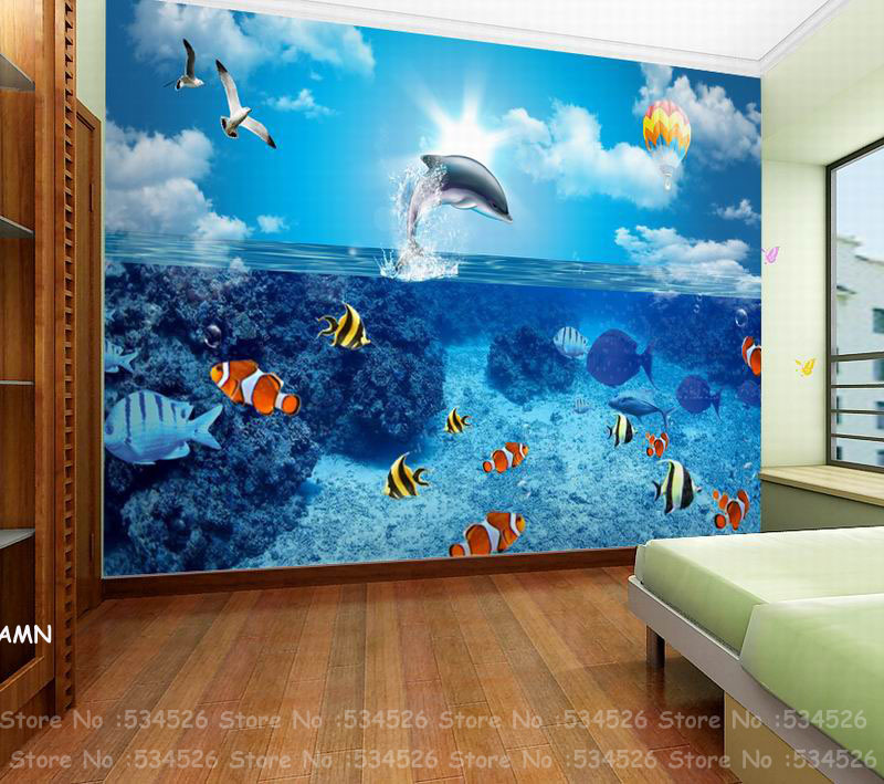 Sea world nemo whale kids wallpaper wood papel de parede for Papel pared infantil