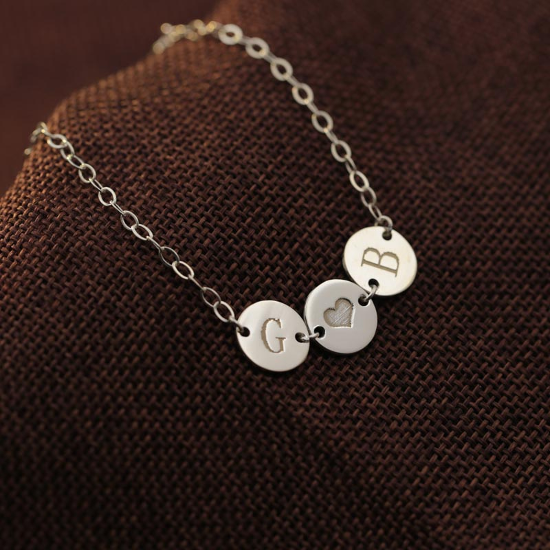 3a72618574949 US $31.49  Three Discs Engraved Initals Bracelet 925 Silver Customized 1 3  Letters Name Heart Bangle BFF Memorial Jewelry Family Gift-in Charm ...