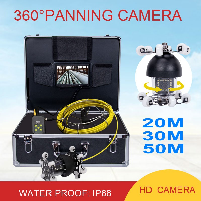 "360 Degree Rotation Underwater Video Camera WP70D 20M 30M 50M Pipeline Endoscope 7""LCD Sewer Drain Pipe Inspection Camera System"