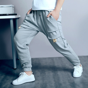 Image 3 - Big Boys Pants Autumn Teenage School Boys Trousers Casual Fat Kids Solid Long Pant Breathable Plus Size Clothes for 8 16 Years