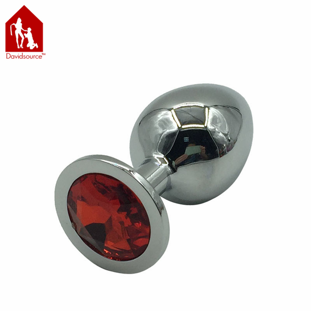 Davidsource Jeweled Metal Silver Butt Plug M Size 84mm Long 36mm Wide Jewelry Anus Toy Anal Sex Fetish Women Men Sex Toy