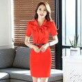 2016 Women Summer Business Dress Formal Dresses Work Office Dress Pencil Sheath bow bodycon Dress red blue black XXXL with Belt