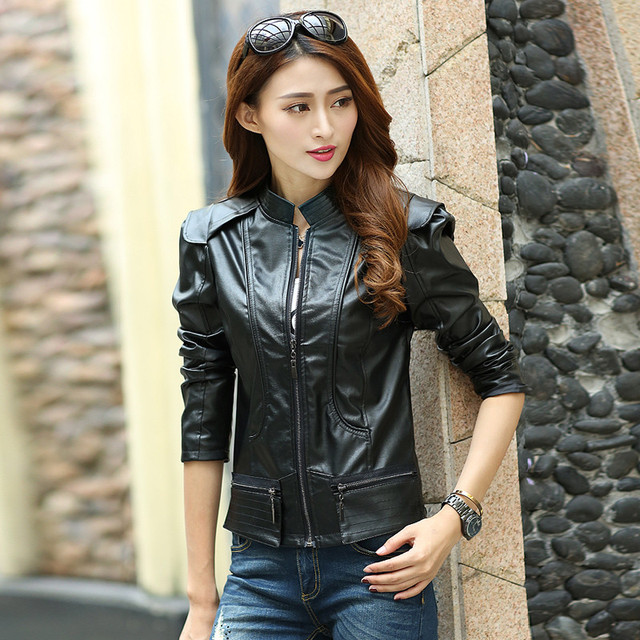 ed3a827d04 New Fashion Women Leather Jacket Slim Fit Coat Solid Overcoat Suit Outwear  PU Leather Zipper Cardigan
