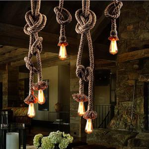 Edison Bulb For Living Room American Style 1 M Retro Vintage Rope Pendant  Light Lamp