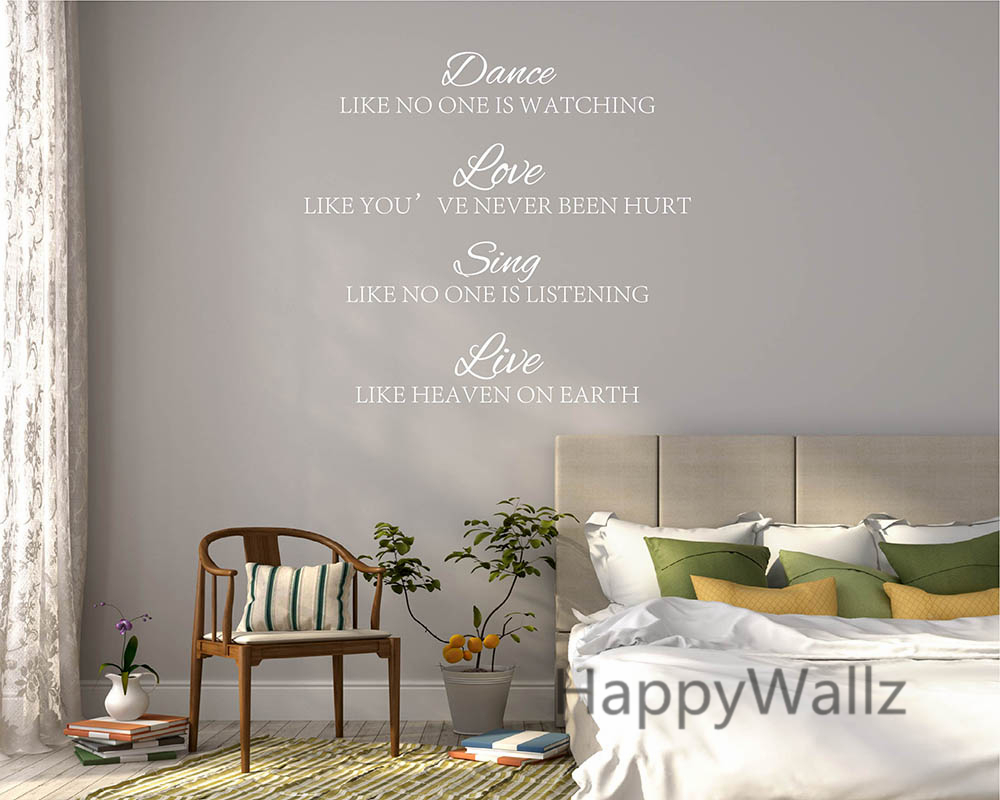 dance love sing live quote wall sticker life quote wall decal custom colors diy modern