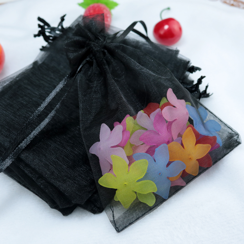 Small Wedding Gift Bags: Wholesale 100pcs/lot Drawable Black Organza Bags 7x9cm