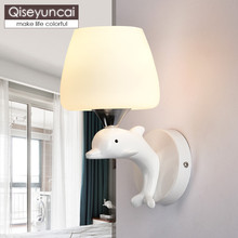 Qiseyuncai Modern minimalist warm children bedroom wall lamp creative resin dolphin bedside with lights