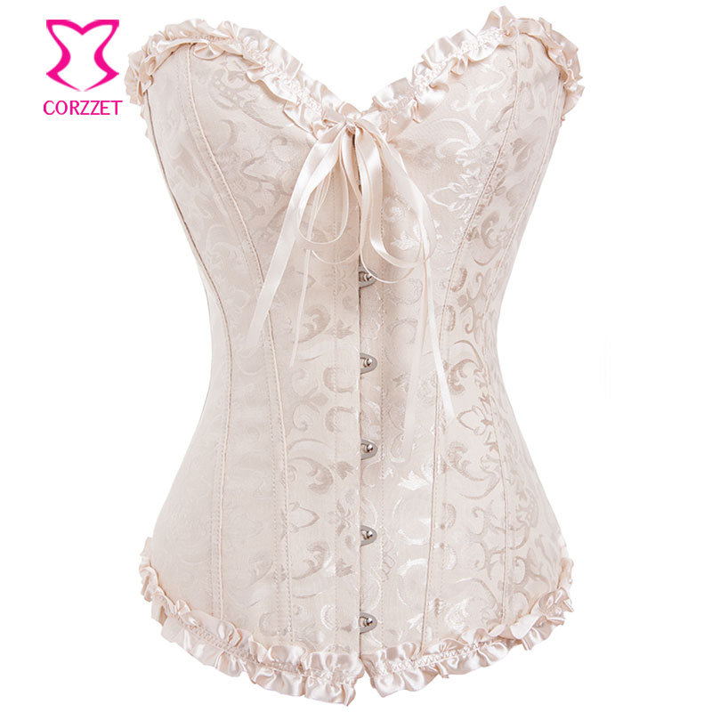 Corzzet Beige, Black, Red, White Sexy   Corsets   and   Bustiers   Jacquard Overbust Corselet Gothic Plus Size   Corset   XXL Korsett Women