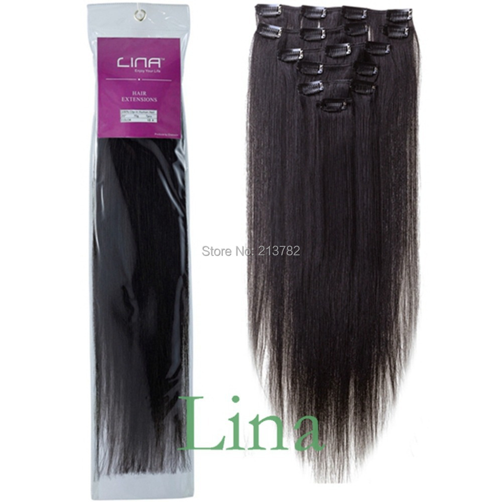 Lina 1b Natural Black 70g 7pcs 1522 Inches Clip In Human Hair