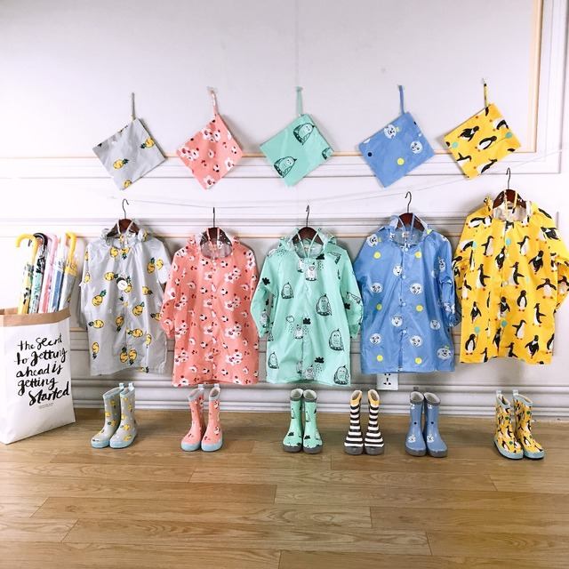New Kids Cartoon Waterproof Raincoat - Add the matching rainboots!