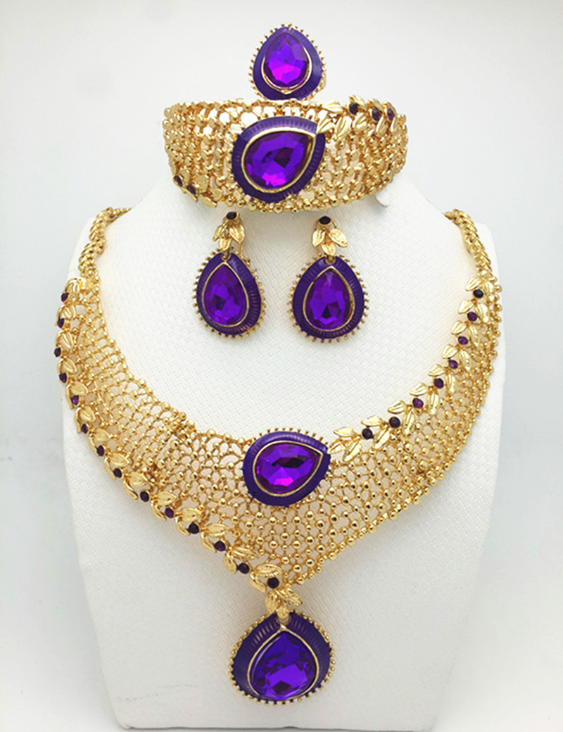 2016 Heart Design Costume Necklace Set Fashion Top Quality African  Goldcolor Women's Bridal Jewelry