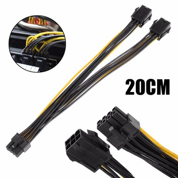 цена на High Quality 20cm Dual 6 Pin Female To Single 8 Pin Male PCIe Graphics Cards Power Cable for Dual Video Cards System