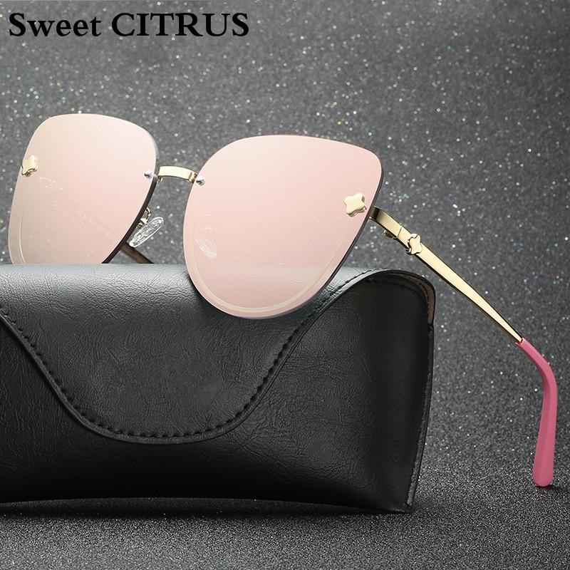 Sweet CITRUS Brand Cat Eye Women Sunglasses Trend Rimless Oversized Fashion Mirror Sun glasses For Ladies oculos de sol feminino 1
