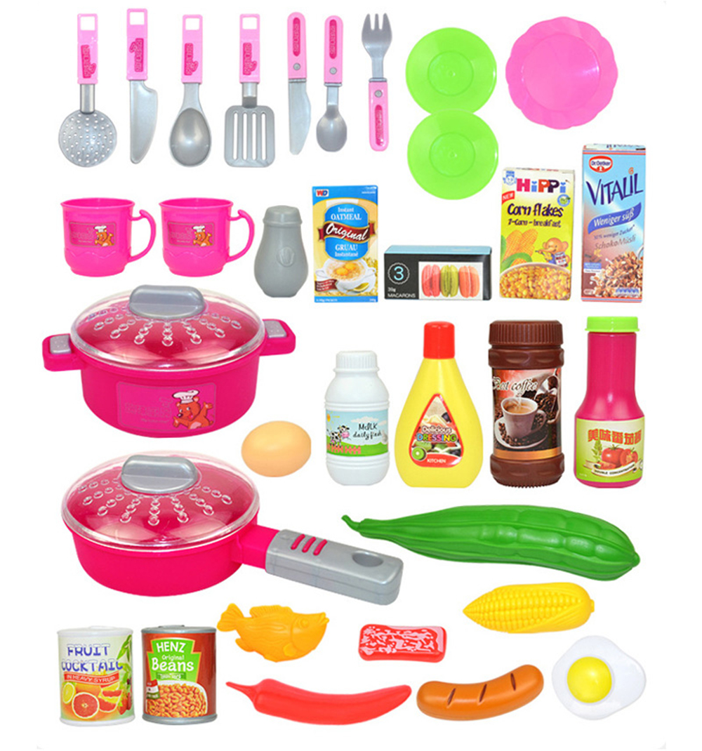 New 2 Types 1 Sets 37 Pcs Kitchen Plastic Pretend Play Food Children Toys With Music And Light Height is about 72 cm Toys Gifts (11)