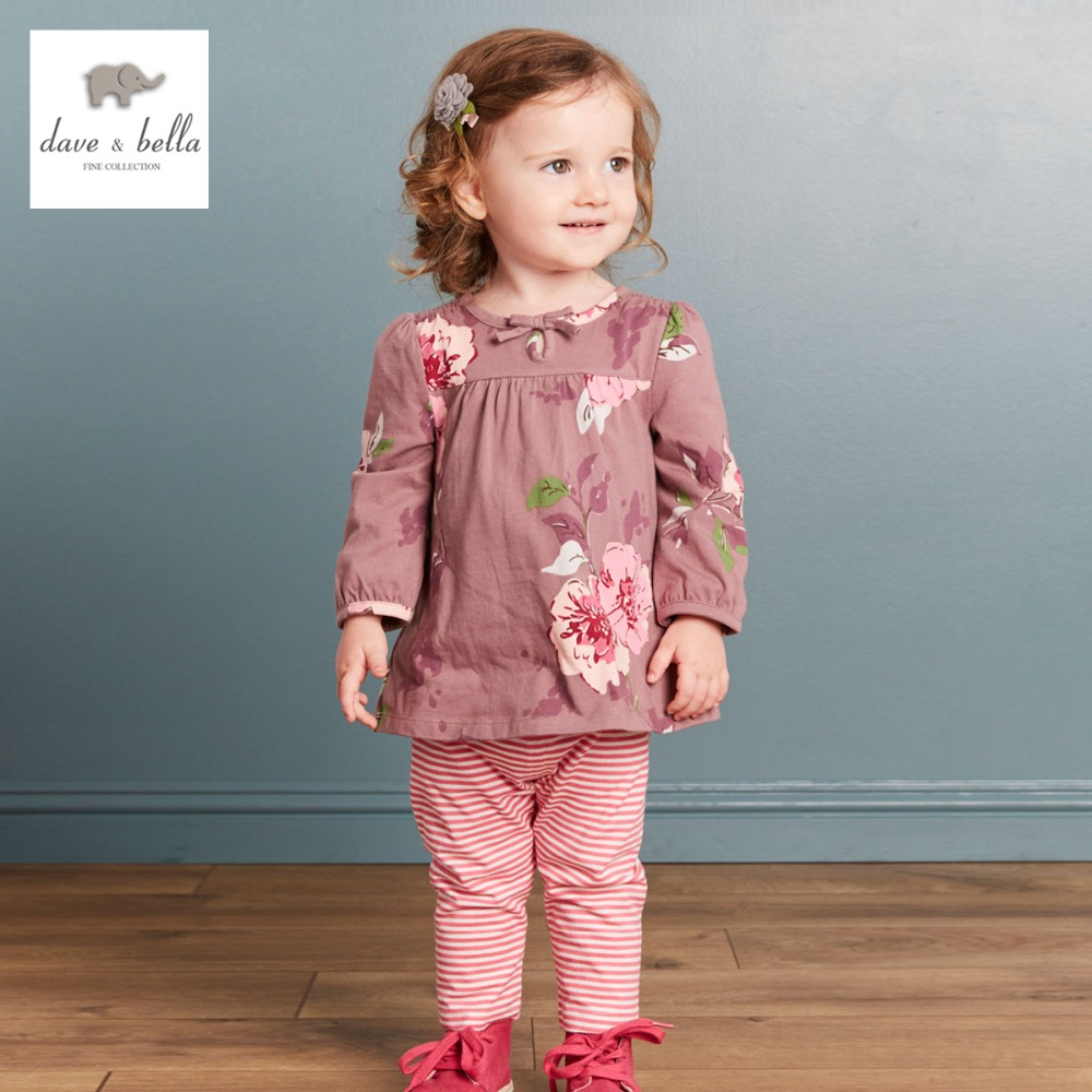 DB3704 dave bella autumn baby girls floral clothing sets kids flower clothing sets toddle cloth kids sets baby costumes клещи jtc 3704
