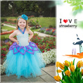 Venta caliente de la muchacha dress bebé niños student dress blue girl dress princess birthday parte gasa corta