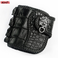 BJYL Handmade men's short wallet Black buckle wallet crocodile leather purses genuine leather retro card holder male wallets