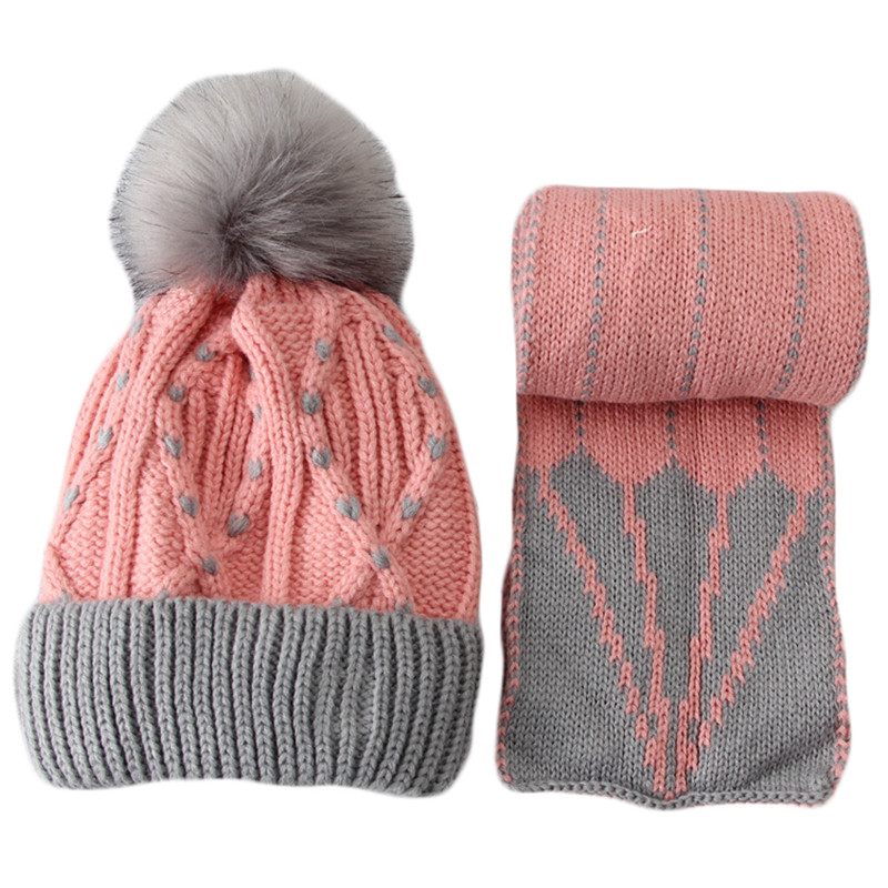 Children Winter Knit Plus Velvet Hat Scarf Set Boys Girls Warm Wool Hat Scarf Two Piece Baby Thickening Pompoms Cap Collar Suit the new children s cubs hat qiu dong with cartoon animals knitting wool cap and pile