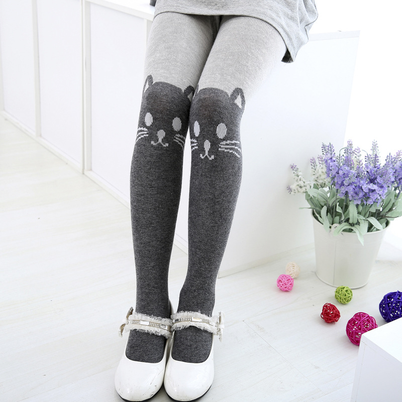 Autumn/Winter Girls Tights Kawaii Kids Splice Thick Stockings Baby Cat Elastic Cotton Knitwear Cute Pantyhose Dress accessories