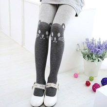 Autumn Winter Girls Tights Kawaii Kids Splice Thick Stockings Baby Cat Elastic Cotton Knitwear Cute Pantyhose
