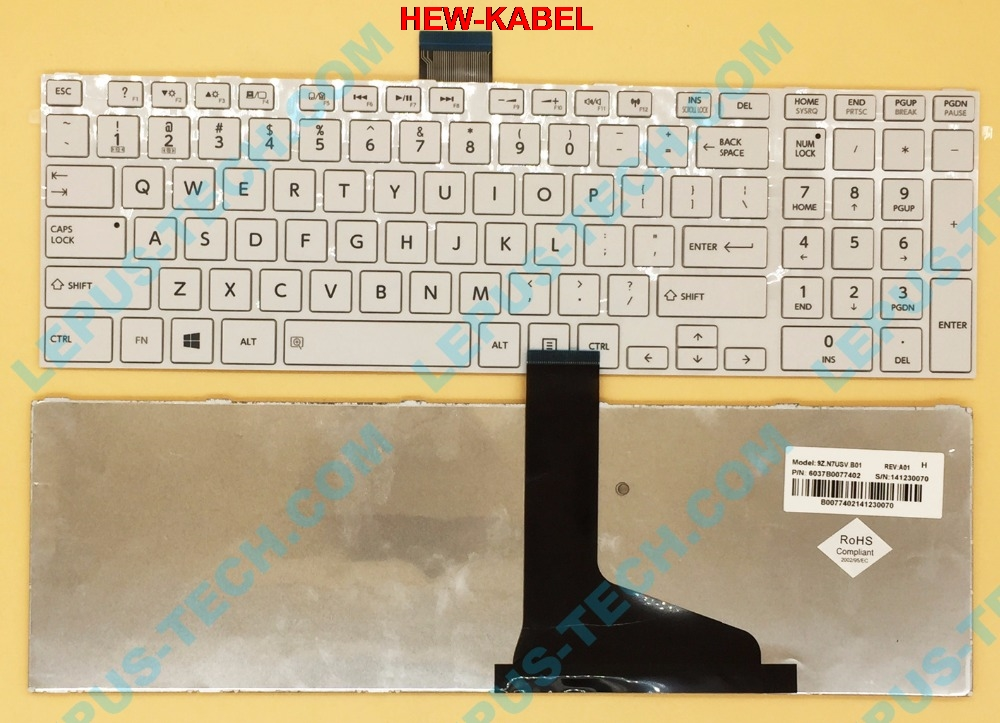 US Keyboard for Toshiba satellite L850 L855 C850 C855D C850D C855 C870 C870D C875 C875D L875 L875D keyboard with white frame US image