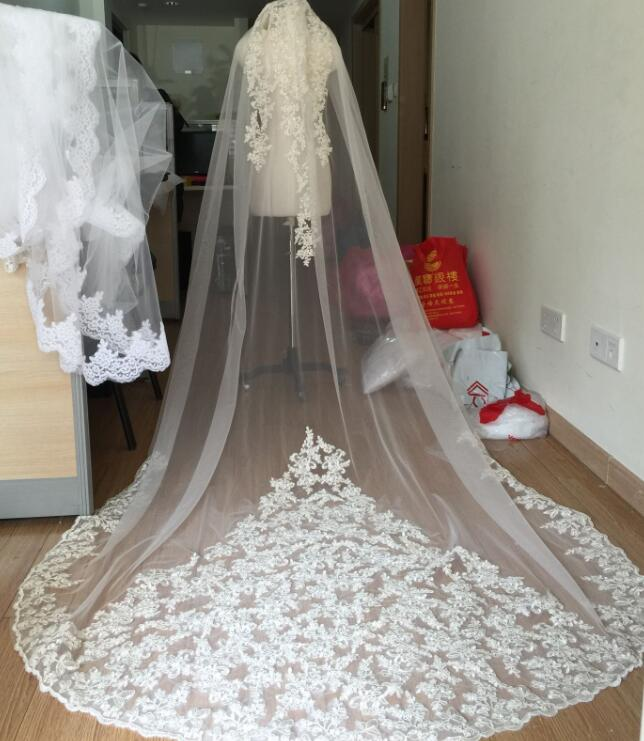 High-end cathedral 1 layer lace applique bride veil white ivory wedding veil &comb