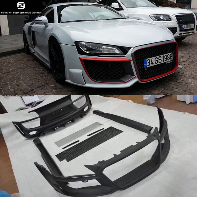 US $1999 99 |R8 FRP Car body kit Unpainted front bumper rear bumper side  skirts front grills for Audi R8 Regula style 08 15-in Body Kits from