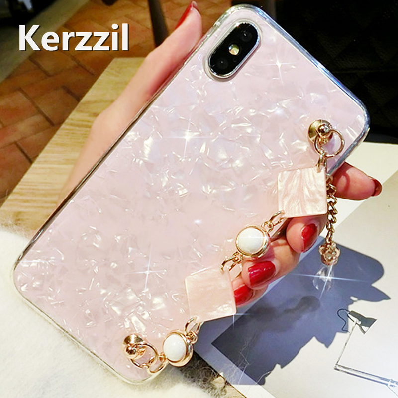 Kerzzil Luxury Diamond Rhinestone Chain Case For iphone 7 7 Plus 6 6s 6 Plus 8 X phone case Pearl Bracelet Hard PC Back Cover
