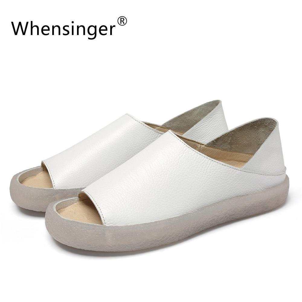 Whensinger/Новинка 2018 г. летние сандалии из натуральной кожи, женская модная дизайнерская обувь 221-3