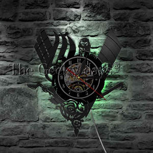 Image 2 - 1Piece Ancient Norse Viking Vintage Design Illuminated Wall Clock Viking Warrior Weapons Battle Axe Home Decor Wall Art LED Lamp
