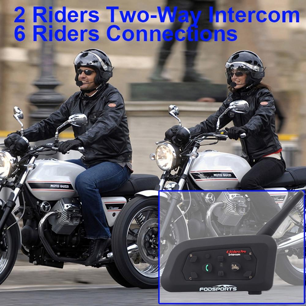Fodsports V6 Pro Интерком мотоциклетный шлем гарнитура BT Interphone 1200M беспроводной Bluetooth Intercomunicador Moto