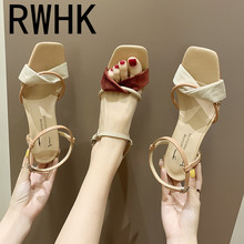 RWHK 2019 new spring wild sandals fashion female summer suede round with a word buckle open toe Roman shoes B028