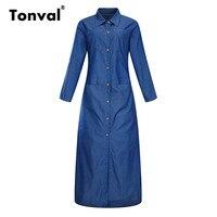 Tonval Blue Denim Maxi Dress Women Turn Down Collar Shirt Dress Long Sleeve Casual 5XL 6XL