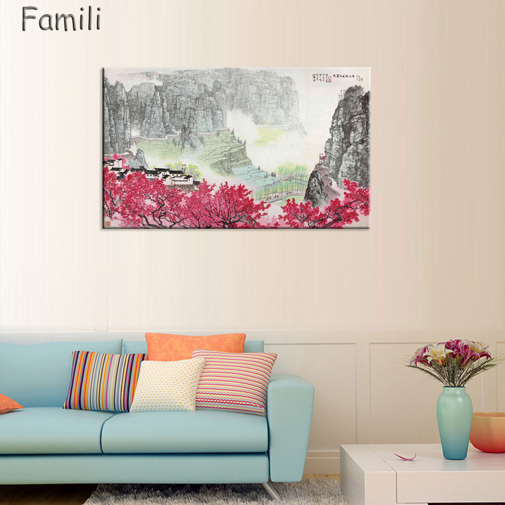 Large Wall Art Canvas Prints Chinese Mountain and River painting Picture Hall Living Room Decor Canvas Art Wall Poster Print-67