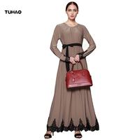 TUHAO Vintage Middle East Women's Dress Maxi Patchwork Lace Long Muslim Dresses Autumn Loose Floor Length Robes Femme CM01
