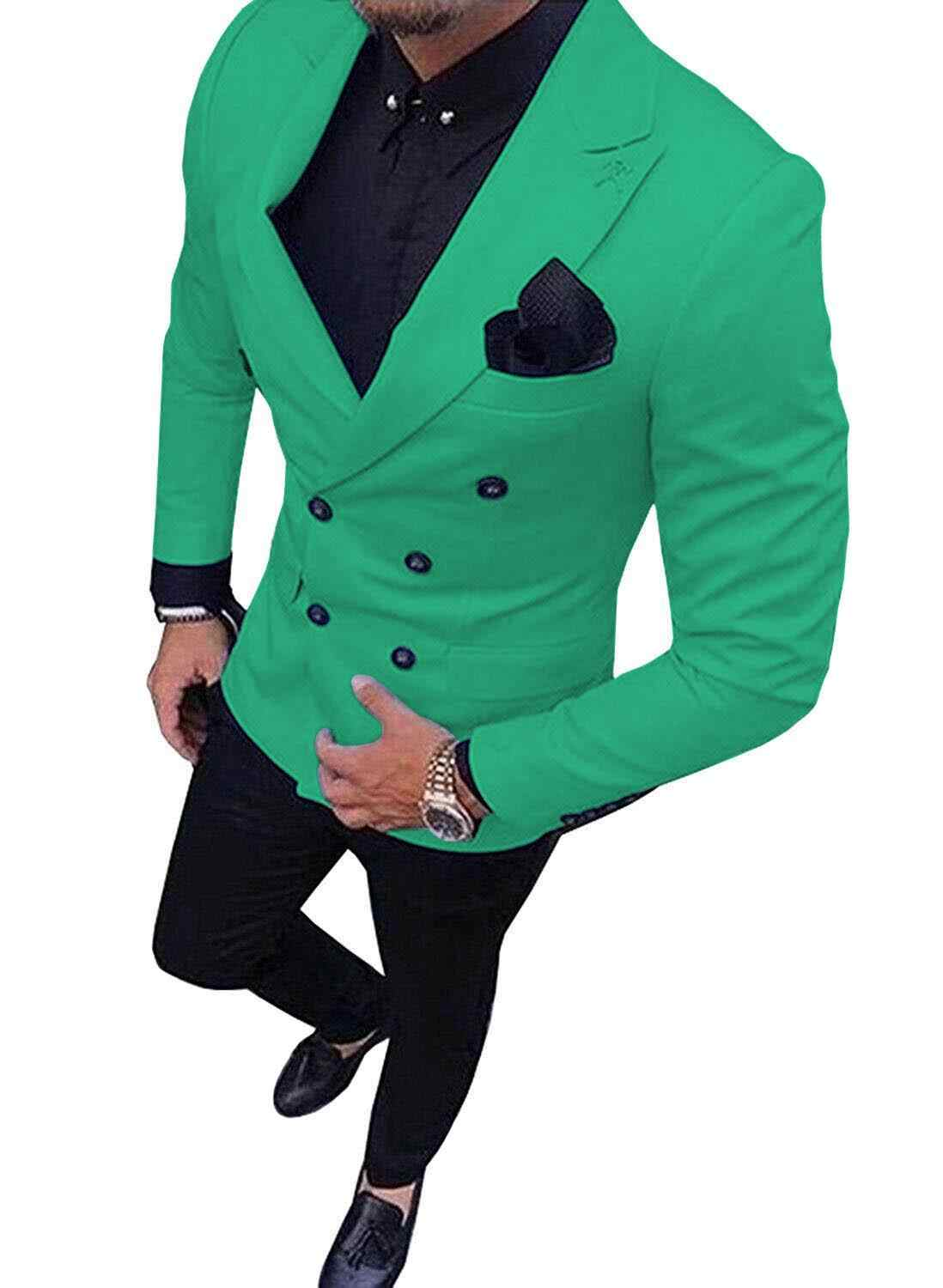 2020 New Green Men's Suit Double-Breasted 2-Piece Suit Notch Lapel Blazer Jacket Tux & Trousers For Weeding , Party