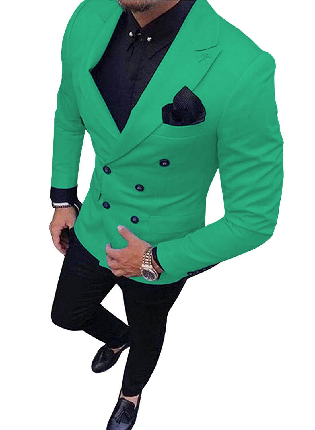2019 New Green Men's Suit Double-Breasted 2-Piece Suit Notch Lapel Blazer Jacket Tux & Trousers For Weeding , Party