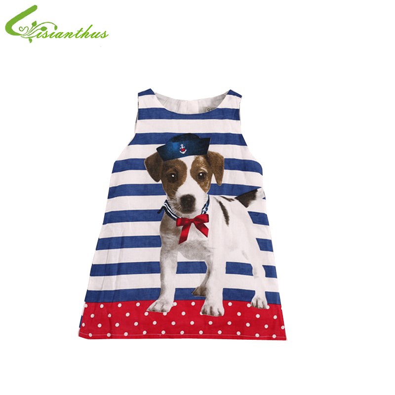 girl fashion dress children cute dog printed Vest dress kids clothing summer dress blue and white stripe sleeveless sundress