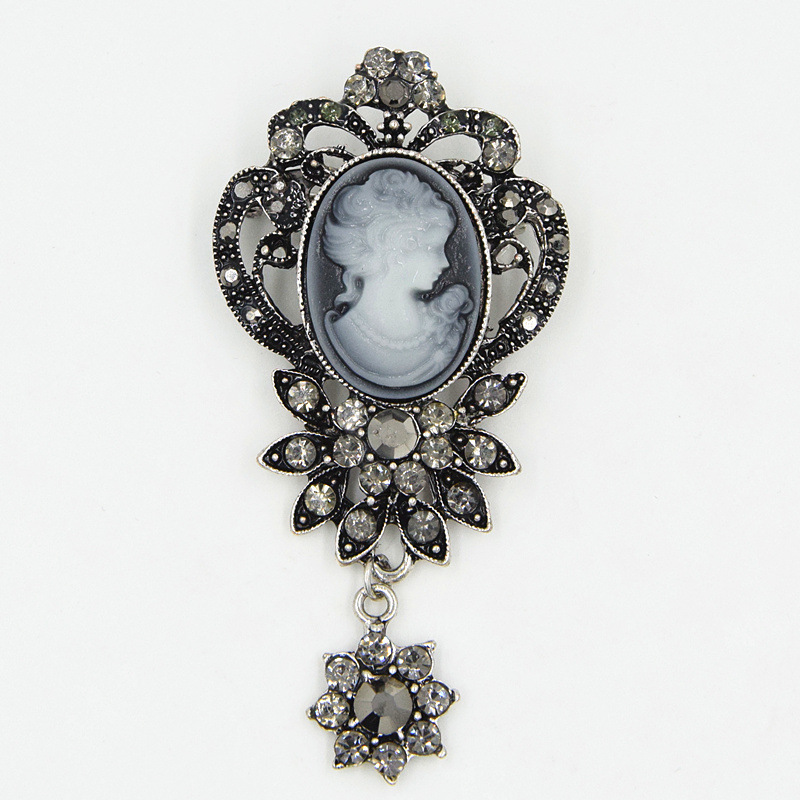 Vintage Brooch Court Queen Elegant Fashion Beauty Head Brooch For Fashion Fine Jewelry Gifts in Brooches from Jewelry Accessories