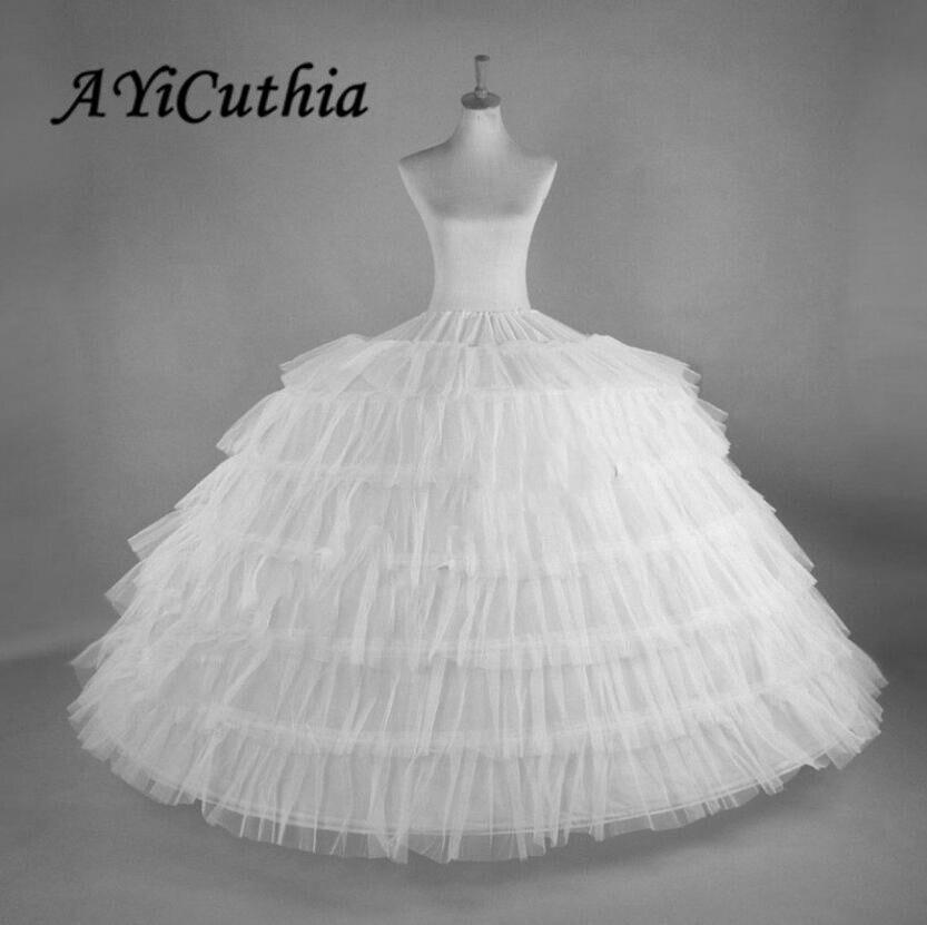 AYiCuthia White 6 Hoops Big Petticoat Slips Tulle Skirts Long Puffy Crinoline Underskirt For Ball Gown Wedding Dress CQ7