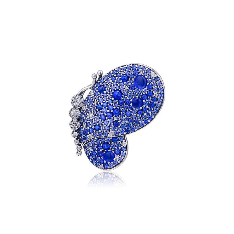 Éblouissante broche papillon bleu pour les femmes printemps bijoux en argent Sterling cristal fête broches charme bijoux accessoires 2019