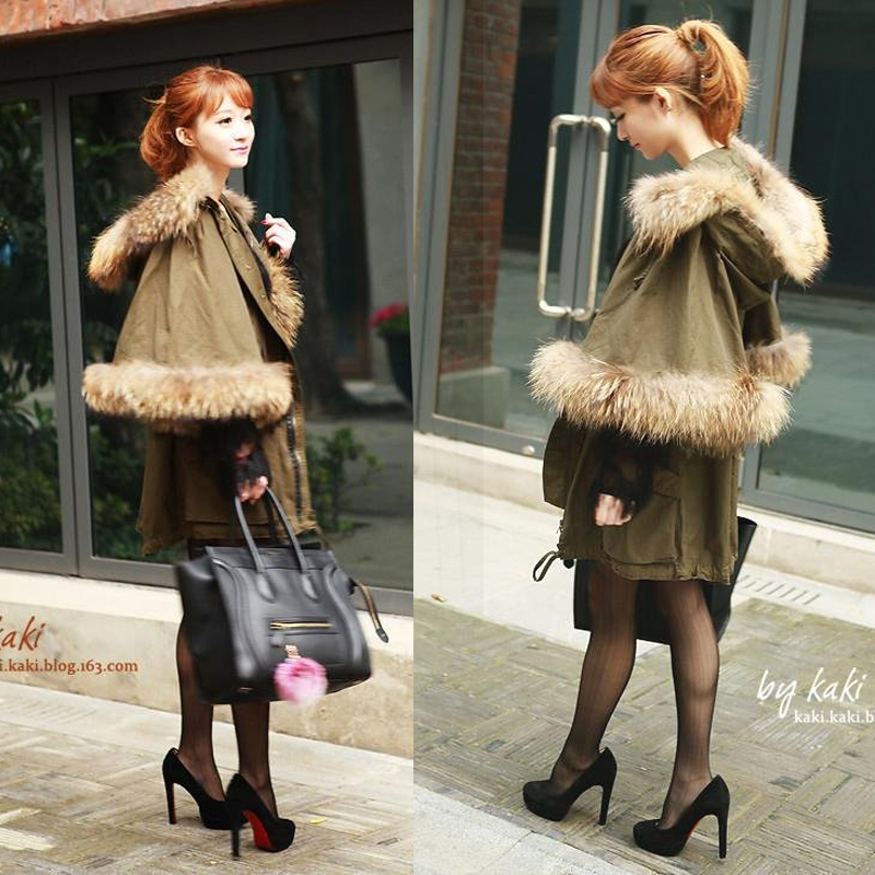 2017 Autumn And Winter New Raccoon Fur Green Leisure Coat Plus Size Bat Sleeves Cotton font