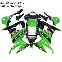 Custom ZX10R 2008 For Kawasaki Ninja ZX10R 08 10 2008 2009 2010 ZX 10R fairing kit fairings [XX004]