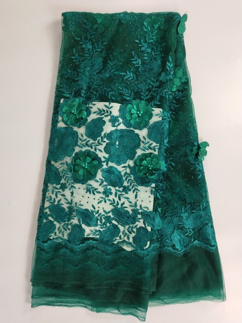 French lace fabric 5yds/pce by dhl green beads&stones&petals fabrics for women luxury asoebi dresses 2018 new arrival