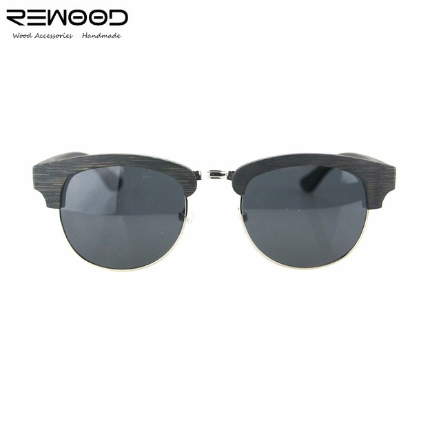 Rewood High Quality Semi-Rimless Wooden Sunglasses Women Brand Designer Glasses Fashion Bamboo Gafas Oculos De Sol UV400