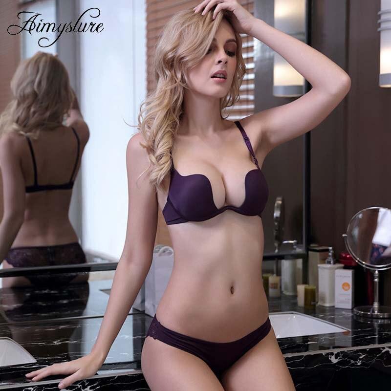 Sexy Plunge Cotton Bra Women Deep V Lingerie Lady Backless Underwear Brassiere